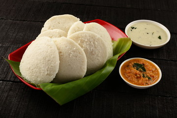 South Indian Food idli sambar with coconut chutney.