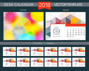 Desk Calendar 2018 Vector Design Template with abstract pattern. Set of 12 Months.