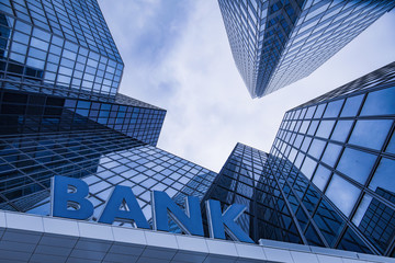 Bank building in a business area - fototapety na wymiar