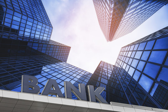 Bank building in a business area