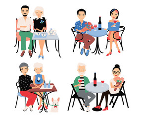 Set of couples on romantic date. Young trendy lovers at table in cafe. Guy and girl sit in embrace, hold hands, drink wine and tea. Colorful vector illustration in cartoon style.