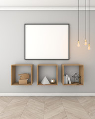 Mock up poster with light wall interior background, 3d render
