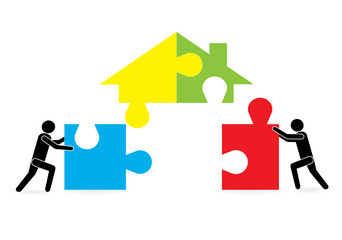 A team of builders are building a house. Business and finance. Purpose, objectives and achievements. Business concept
