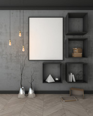 Mock up poster with black wall interior background, 3d render