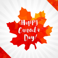 Happy Canada Day vector greetings. Canadian flag elements and colors, Maple leaf, white background, light stripes. National traditional holiday first of July celebrating sign. Price or % off icon.