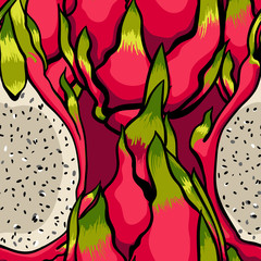 Exotic vector pattern. Dragon fruits on the bright white background.