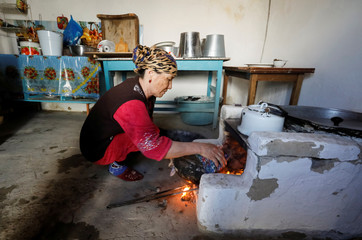 Farmer's wife Akziyash Izmuratova cooks at the family's Bolekun farm in the former sea village of Bogen, south-western Kazakhstan