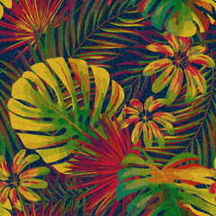 Exotic leaf seamless print on denim backdrop. Bright tropic leaves on a dark blue background, color graphics, blue jeans texture, hand-drawn vector.