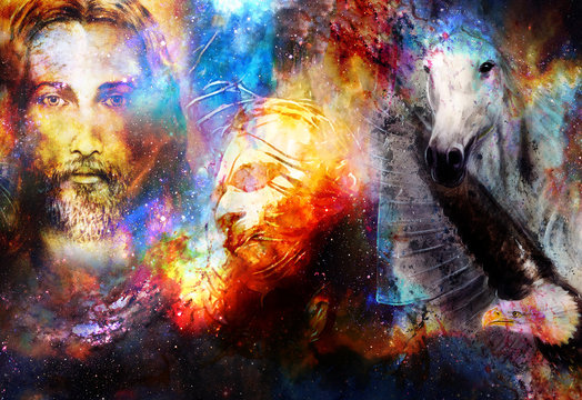 interpretation of Jesus on the cross and animals in cosmic space.