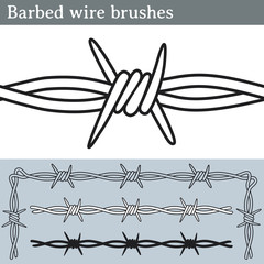 Barbed wire brushes. Brushes for Illustrator to draw barbed wire. Three different versions: unfilled, with white fill and in silhouette.