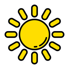 The Sun icon Simple flat symbol Vector illustration cute and warm Summer sign For web banners posters cards