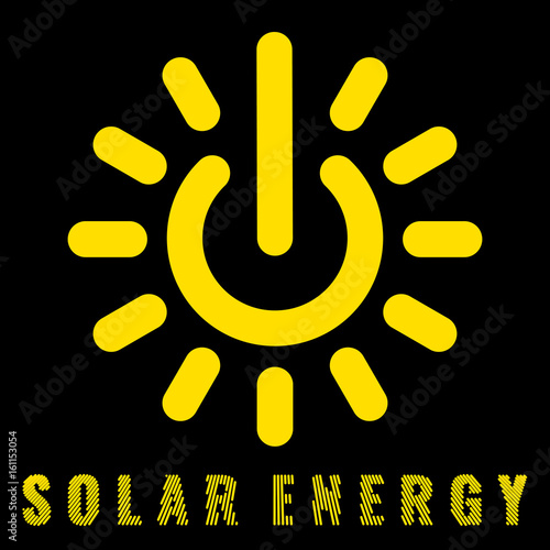 Icon uniting the sun and power signs Denoting the solar