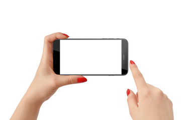 Woman holding smartphone in horizontal position and touching screen, isolated on white background