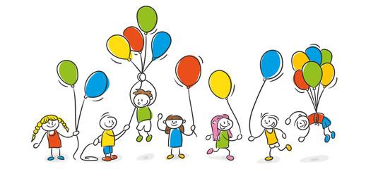 Strichfiguren Kinder Luftballons Party