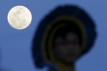A full moon is seen during the first World Games for Indigenous Peoples in Palmas