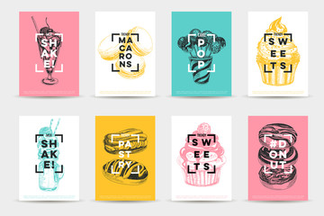 Vector hand drawn set of trendy sweets Illustrations.