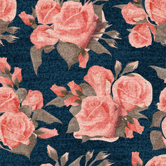 Pink roses floral seamless print on blue denim backdrop. Pastel english roses on a dark blue background, color graphics, blue jeans texture, hand-drawn vector.