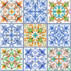 watercolor illustration, abstract seamless background, vintage pattern, medieval acanthus, mosaic ceramic tile, ornament, kaleidoscope, patchwork