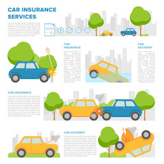 Concept of car insurance against various incidents. Page template with place for text and different car accidents. Colorful vector, cartoon style.