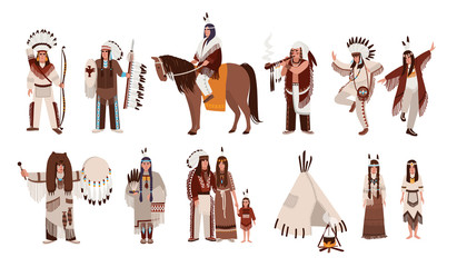 Set of Indians in traditional costumes. Native american family, girl, shaman, people with a bow and arrows, peace-pipe, a spear, on a horse. Colorful vector illustration in cartoon style.