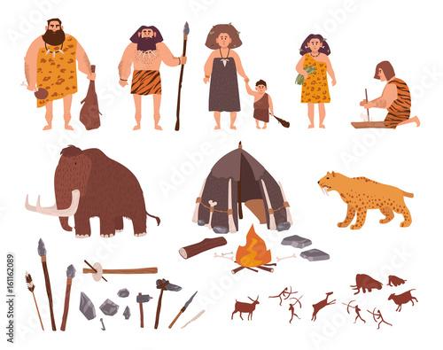 Set Of Stone Age Theme Primitive People Children Mammoth