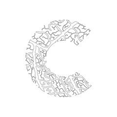 Nature alphabet, ecology decorative font. Capital letter C filled with leaf veins pattern black on white outline background. Leaves texture hand draw nature alphabet. Vector illustration.
