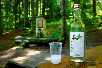 A bottle and a glass of absinthe are pictured in this picture illustration taken at the Fontaine des Couellets in Buttes