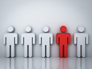 Stand out from the crowd and different creative idea concepts , One red man standing among white people on gray background with reflections and shadows , leadership concept . 3D rendering.