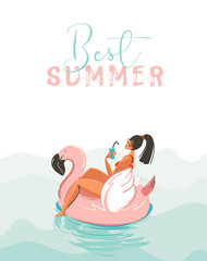Hand drawn vector abstract fun summer time illustration card with girl swimming on pink flamingo float circle in blue ocean waves with modern calligraphy Best Summer isolated on white background