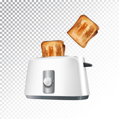 Vector realistic illustration of a toaster with toast.