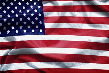 American flag background. Closeup of ruffled American flag