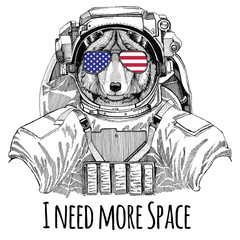 Usa flag glasses American flag United states flag Wolf Dog wearing space suit Wild animal astronaut Spaceman Galaxy exploration Hand drawn illustration for t-shirt