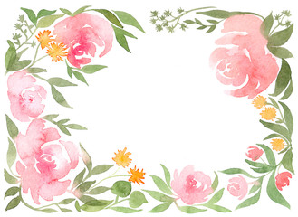 watercolor illustration with watercolor flowers an invitation to the wedding wreath