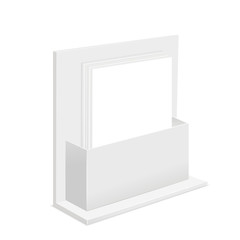 White Paper Empty Blank Template and Cardboard Advertising Container Stand Box. Vector