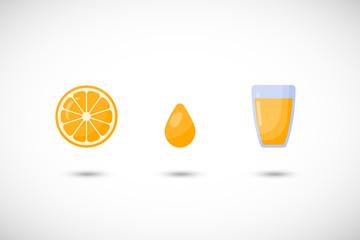 Orange juice vector flat icon set