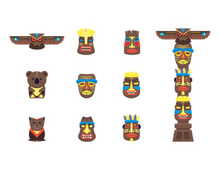 Cartoon Traditional Religious Totem Color Icons Set. Vector