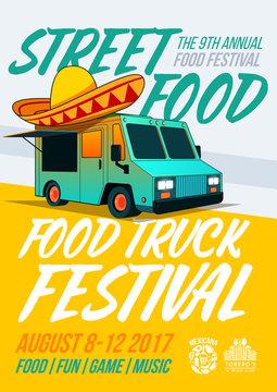 Food truck festival food brochure. Vector Poster template design. Street Food menu flyer.
