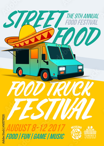 food truck festival food brochure vector poster template design