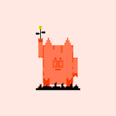 Pig in pixel art style