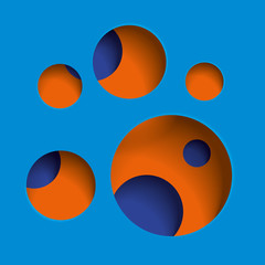 Round holes in the blue surface, multilevel abstraction, vector minimal art background