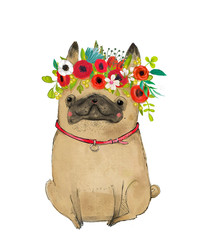 cartoon pug with floral wreath