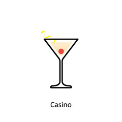 Casino cocktail icon in flat style
