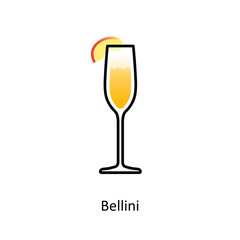 Bellini cocktail icon in flat style