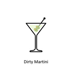 Dirty Martini cocktail icon in flat style