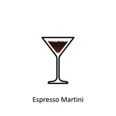 Espresso Martini cocktail icon in flat style