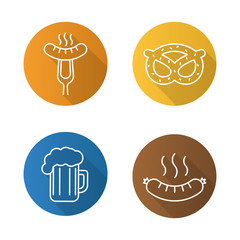 Beer snacks flat linear long shadow icons set