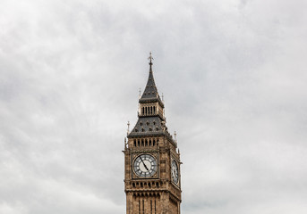 Big Ben tower on a cloudy day, London