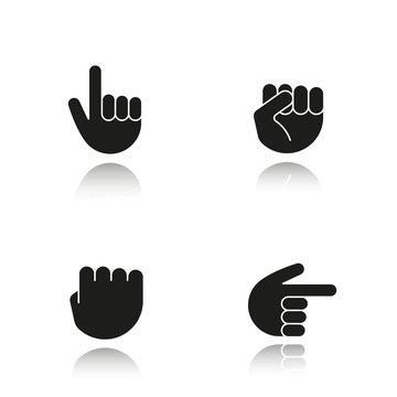 Hand gestures drop shadow black icons set