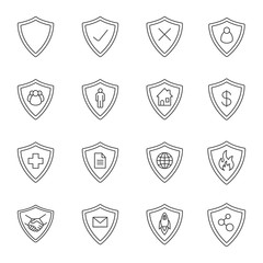 Protection shields linear icons set