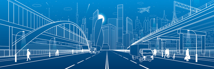 Wall Mural - Pedestrian arch bridge. Wide highway. Road overpass. Urban infrastructure, modern city on background, industrial architecture. People walking. Truck rides. White lines, night scene, vector design art